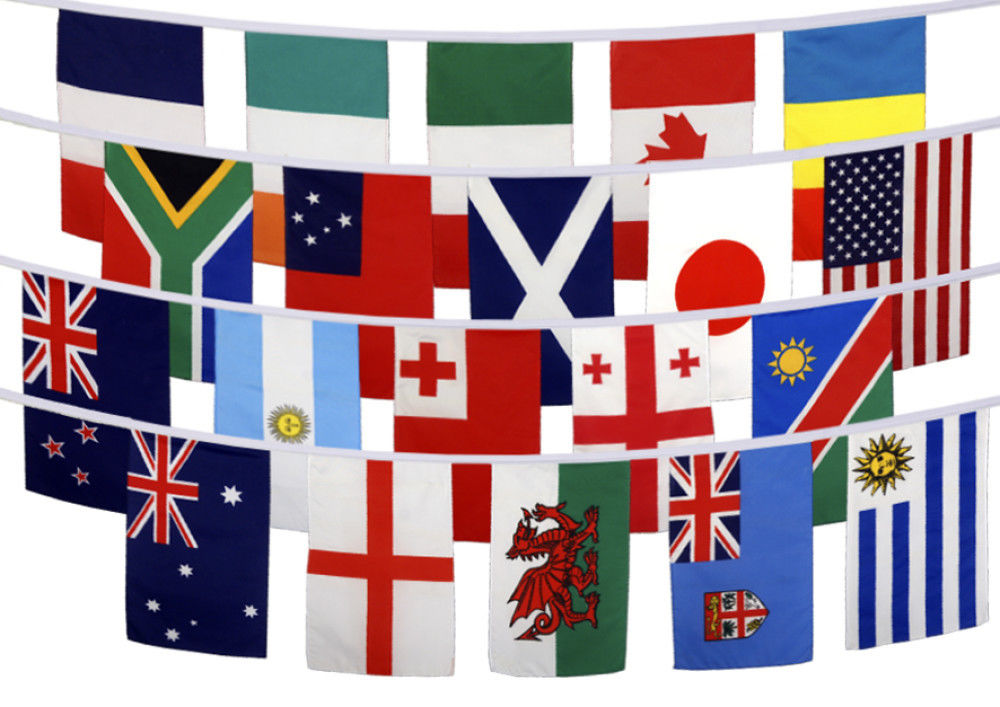Rugby world cup 20 countries quality bunting 6m