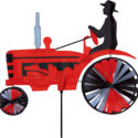 Tractor windspinner windmill RED great for garden or camping