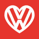 VW flag with heart logo RED 5ft x 3ft