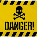 Danger flag yellow 5ft x 3ft
