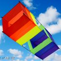 Classic box single line kite in rainbow colours