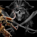 Pirate with gun digitally printed flag 5ft x 3ft high quality