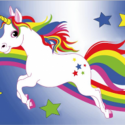 Unicorn rainbow blue flag 5ft x 3ft high quality with eyelets